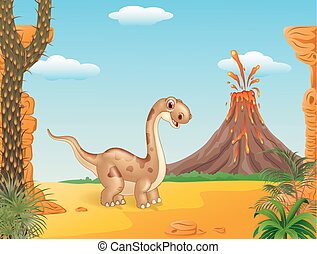 Adorable cute dinosaur - Vector illustration of Adorable...
