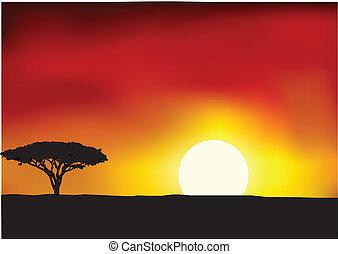 Africa landscape background - Vector Illustration Of Africa...