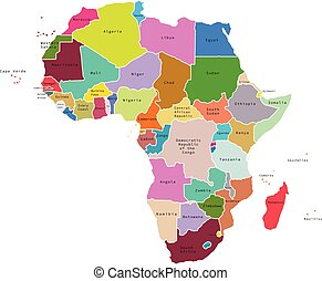 Vector illustration of Africa map with countries. Vector map...