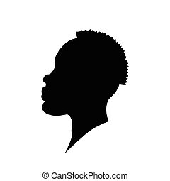 Vector illustration of african american man head silhouette