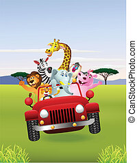 Vector Illustration of African animals in red car