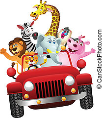 African animals in red car - Vector Illustration Of African...