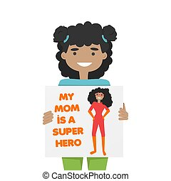 Vector Illustration of African Girl with Mom's Pic