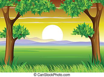 African landscape - vector illustration of African landscape