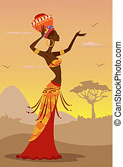 African Woman - Vector Illustration of African Woman
