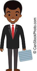 Vector illustration of afro american businessman character with case. flat style