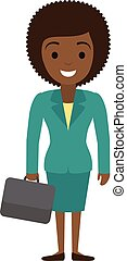 Vector illustration of afro american businesswoman character with case in flat s