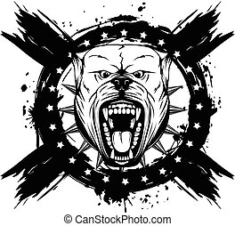 pitbull - Vector illustration of aggressive snarling dog...