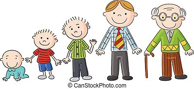 Aging people, Men at different ages - Vector illustration of...