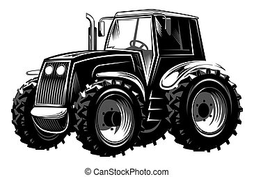 Vector illustration of an agricultural tractor for design