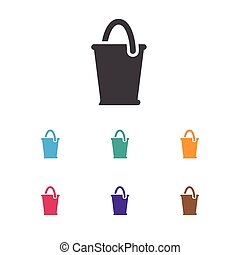Vector Illustration Of Agriculture Symbol On Pail Icon. Premium Quality Isolated Bucket Element In Trendy Flat Style.