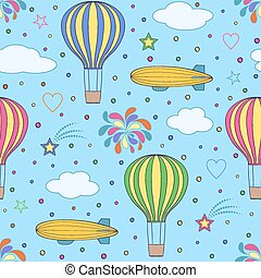 air balloons and airships on the blue sky