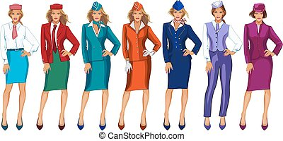 Vector illustration of air hostess in uniform and formal hat. Stewardess on a white background.