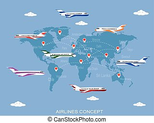 Vector illustration of air lines