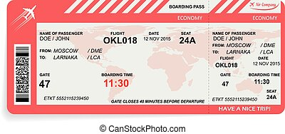 Vector illustration of airline boarding pass - Vector ...