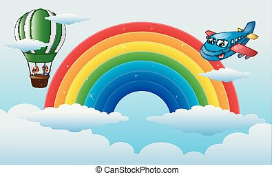 Airplane character and a boys riding a hot air balloon over the rainbow