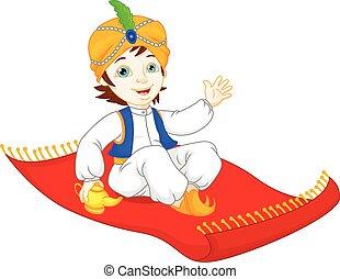 Aladdin on a flying carpet travelin - vector illustration of...