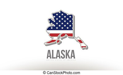 Vector illustration of alaska county state with united states flag