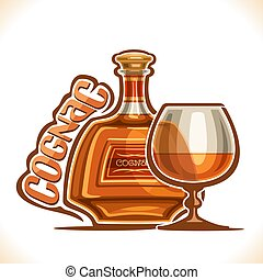 Vector illustration of alcohol drink Cognac, poster with bottle of premium french brandy and half full snifter glass, original typeface for word cognac, design contour composition for bar menu.
