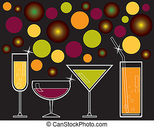 alcoholic drinks and juice - vector illustration of...