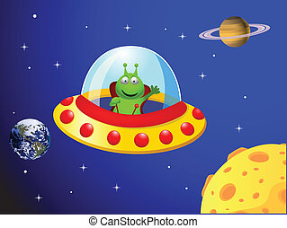 Alien in the space ship - Vector illustration of Alien in...