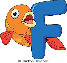 Alphabet F with fish cartoon