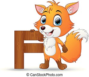 new babies alphabet with letter f fox flat design new babies