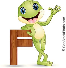 Alphabet F with Frog cartoon