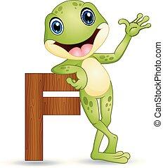 Alphabet F with Frog cartoon