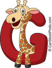 Alphabet G with giraffe cartoon
