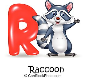 Alphabet R with raccoon