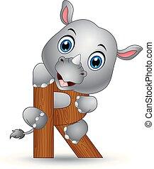 Alphabet R with Rhino cartoon