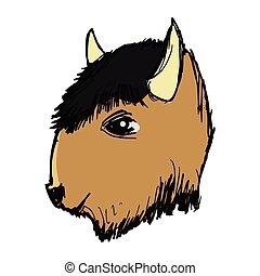 Vector illustration of American buffalo