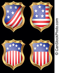 American flag on metal shiny shield