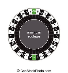 Vector illustration of american roulette wheel isolated on white background