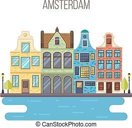 Vector illustration of Amsterdam cityscape.