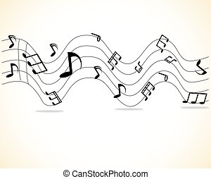 Vector Illustration of an Abstract Background with Colorful Music notes