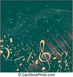Vector Illustration of an Abstract Background with Music notes. Colorful music background. Shining Notes and Treble Clef. Digital audio equalizer.