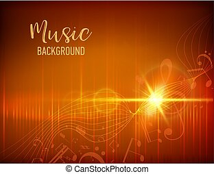 Vector Illustration of an Abstract Background with Music notes. Music concept