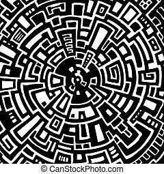 Vector illustration of an abstract circular maze