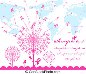 vector illustration of an abstract pink Support Ribbon background with map silhouette