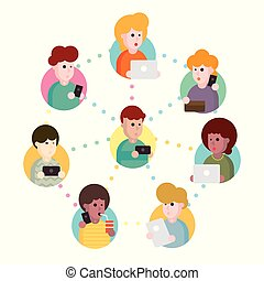 Vector illustration of an abstract social network scheme, which contains people icons connected to each other.