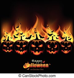 Jack O'Lanterns in front of Flames