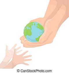 Vector illustration of an adult hand, transmitting the planet Earth in children's hands. Protect Earth. Ecology