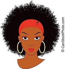 Vector Illustration of an Afro Girl with Curly Hair and Earrings