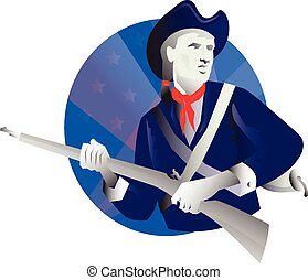 American minuteman revolutionary soldier - vector...