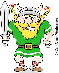 angry viking with sword