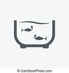Vector illustration of an aquarium with colorful fishes