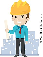 Architect with Building Background - Vector Illustration of...