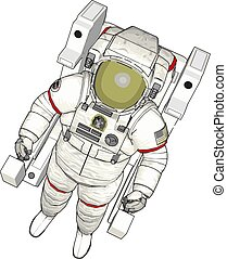 Vector illustration of an astronaut white background